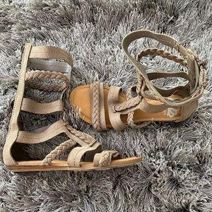 Fergalicious tall gladiator sandals tan